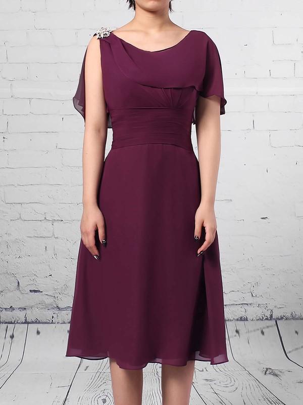 Chiffon Scoop Neck A-line Knee-length Ruffles Mother of the Bride Dress #LDB01021698