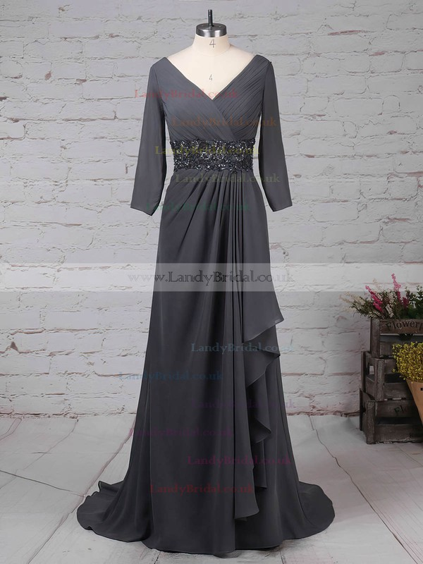 Chiffon V-neck A-line Sweep Train Beading Mother of the Bride Dress #LDB01021700