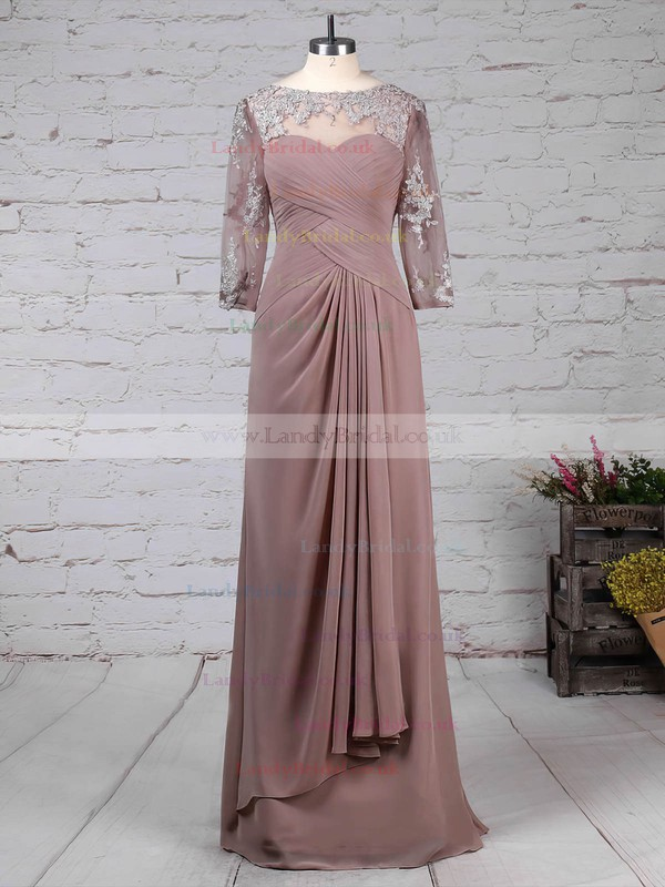 Chiffon Tulle Scoop Neck Sheath/Column Floor-length Appliques Lace Mother of the Bride Dress #LDB01021704