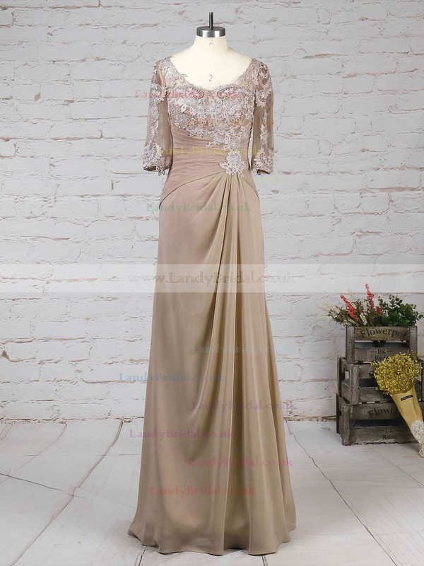 Chiffon Tulle V-neck A-line Floor-length Appliques Lace Mother of the Bride Dress #LDB01021705