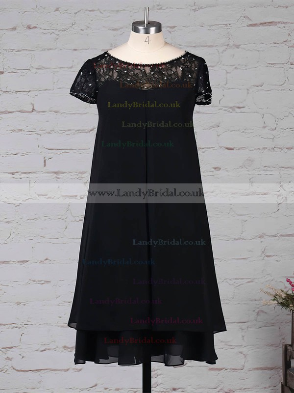 Lace Chiffon Scoop Neck Empire Knee-length Beading Mother of the Bride Dress #LDB01021675