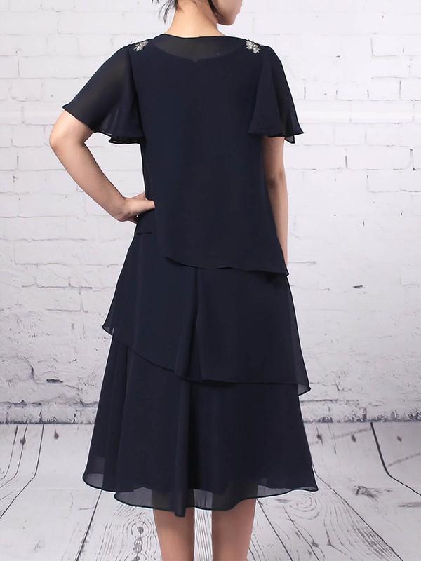 Chiffon Scoop Neck A-line Tea-length Ruffles Mother of the Bride Dress #LDB01021685