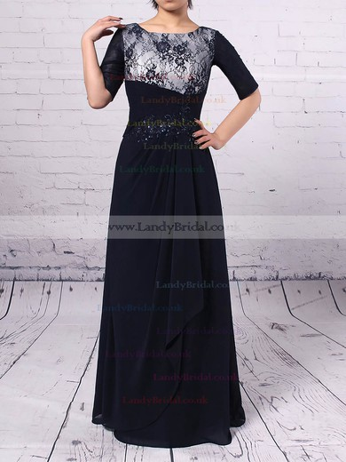 Lace Chiffon Scoop Neck Sheath/Column Ankle-length Appliques Lace Mother of the Bride Dress #LDB01021674