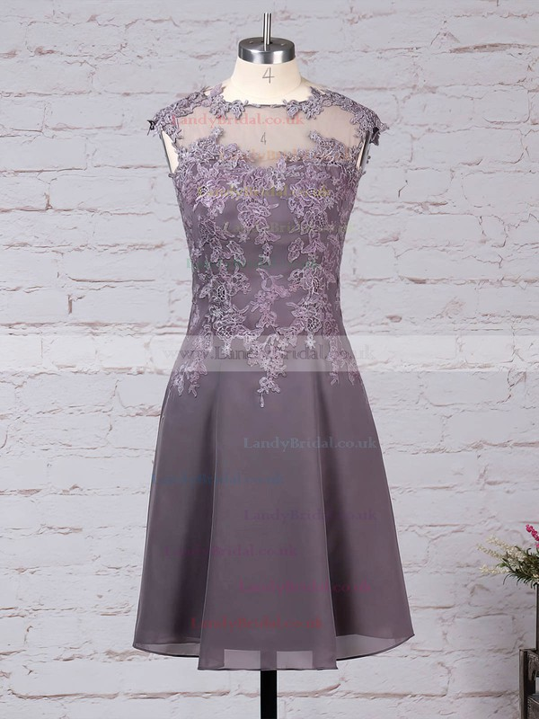 Chiffon Tulle Scoop Neck A-line Knee-length Appliques Lace Mother of the Bride Dress #LDB01021684