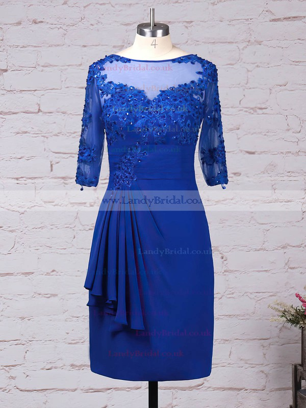 Tulle Chiffon Scoop Neck Sheath/Column Knee-length Appliques Lace Mother of the Bride Dress #LDB01021695
