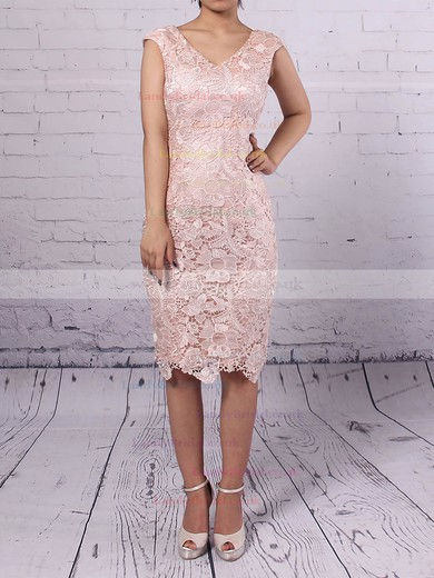 Lace Chiffon V-neck Sheath/Column Knee-length Flower(s) Mother of the Bride Dress #LDB01021710