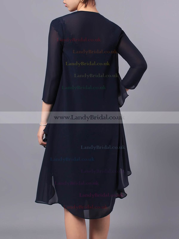 Sheath/Column V-neck Chiffon Tulle Knee-length Beading Mother of the Bride Dresses #LDB01021712