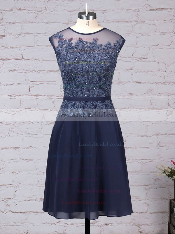 Chiffon Tulle Scoop Neck A-line Knee-length Beading Mother of the Bride Dress #LDB01021720