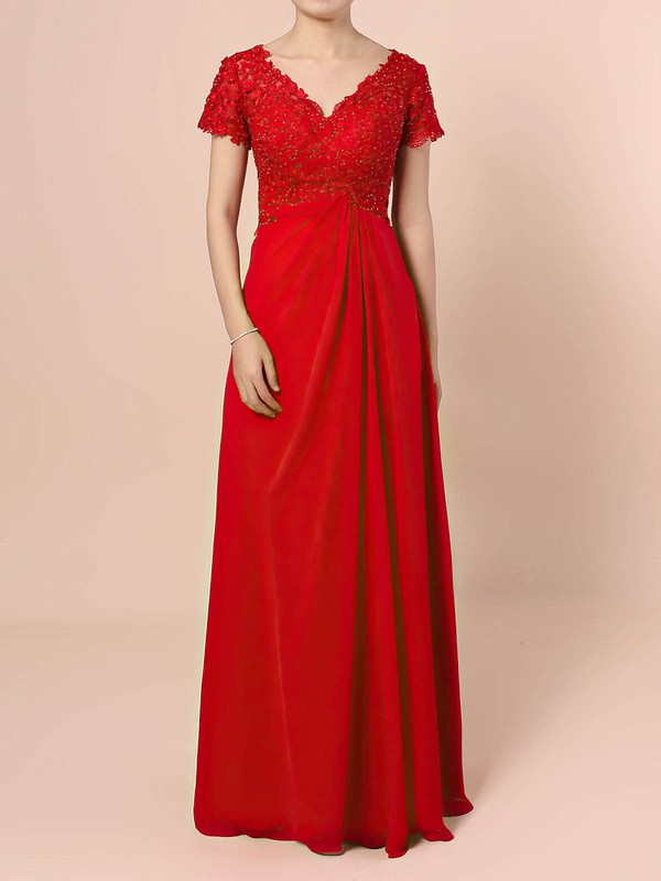 Lace Chiffon V-neck A-line Floor-length Beading Mother of the Bride Dress #LDB01021721