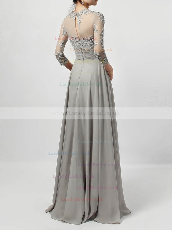 Chiffon Tulle Scoop Neck A-line Floor-length Appliques Lace Mother of the Bride Dress #LDB01021724