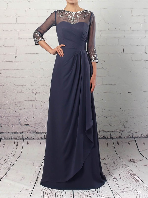 Chiffon Tulle Scoop Neck A-line Floor-length Beading Mother of the Bride Dress #LDB01021730