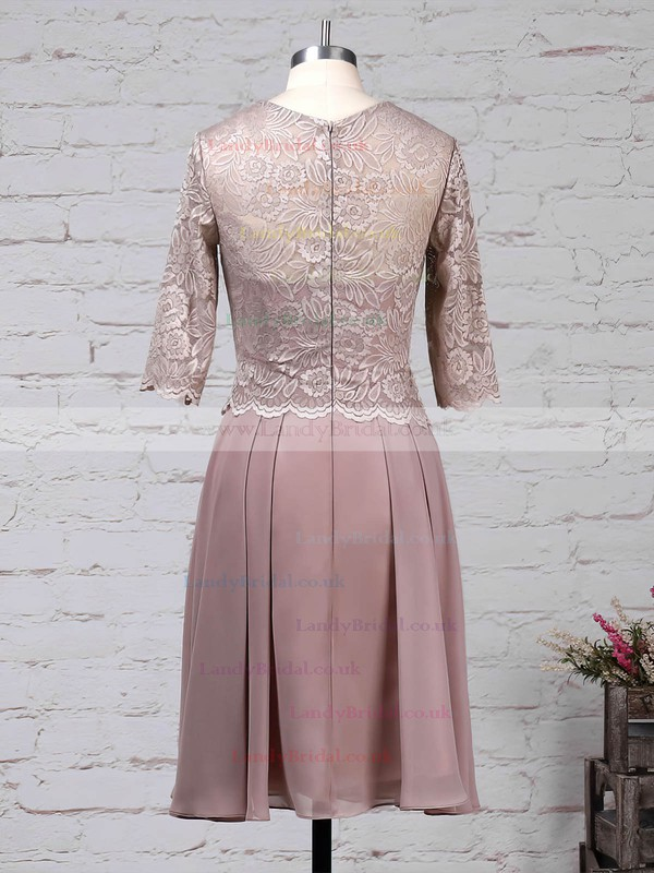 Lace Chiffon Scoop Neck A-line Knee-length Mother of the Bride Dress #LDB01021671