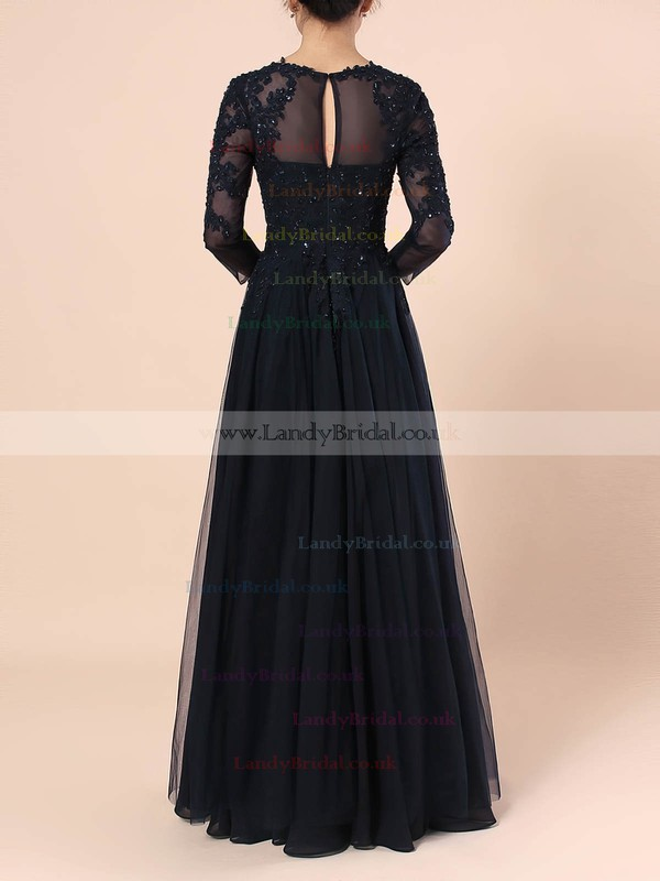 Tulle Scoop Neck A-line Floor-length Beading Mother of the Bride Dress #LDB01021678