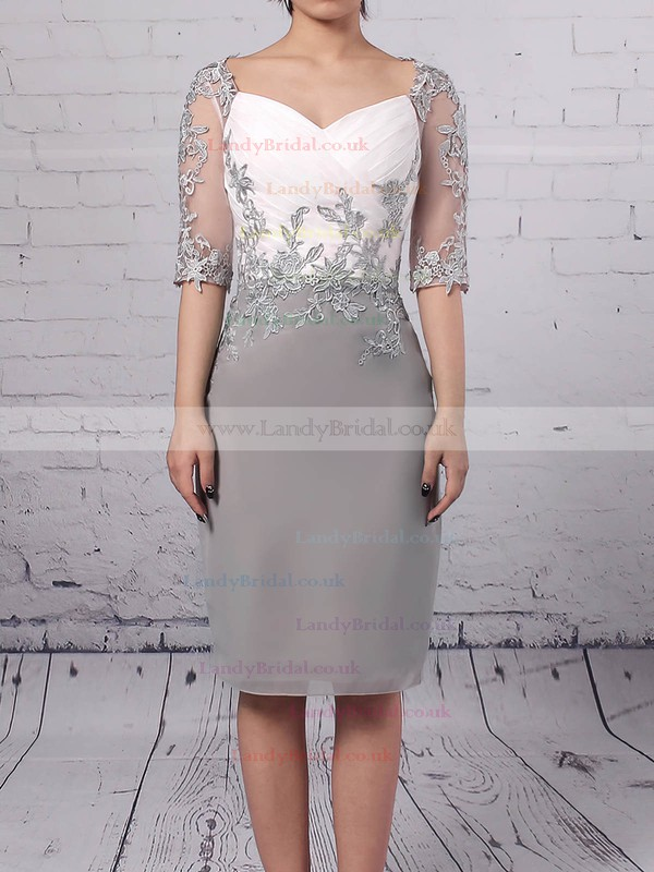 Chiffon Tulle V-neck Sheath/Column Knee-length Appliques Lace Mother of the Bride Dress #LDB01021682