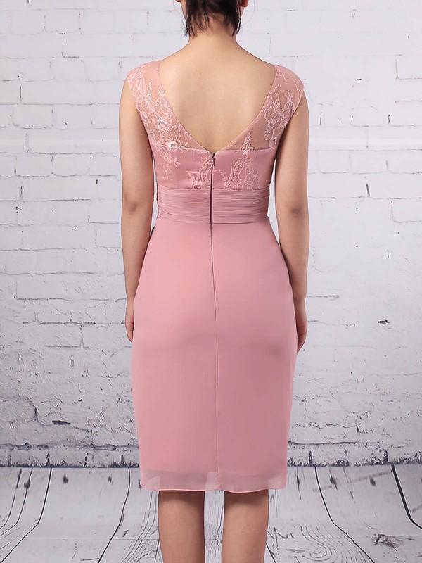 Lace Chiffon Scoop Neck Sheath/Column Knee-length Ruffles Mother of the Bride Dress #LDB01021688