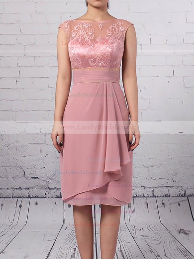 Lace Chiffon Scoop Neck Sheath/Column Knee-length Ruffles Mother of the Bride Dress #LDB01021688