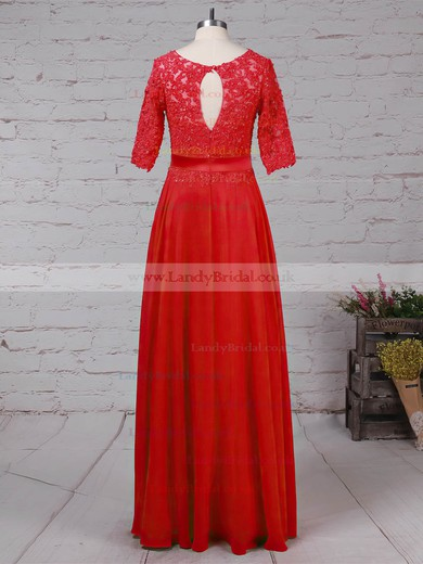Chiffon Tulle Scoop Neck A-line Floor-length Beading Mother of the Bride Dress #LDB01021702