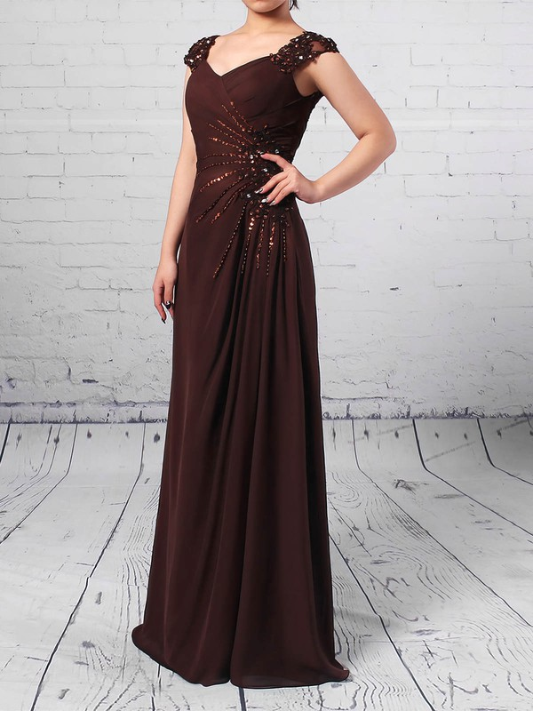Chiffon Tulle V-neck A-line Floor-length Beading Mother of the Bride Dress #LDB01021713