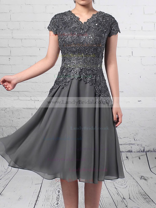 Chiffon Tulle V-neck A-line Knee-length Beading Mother of the Bride Dress #LDB01021725