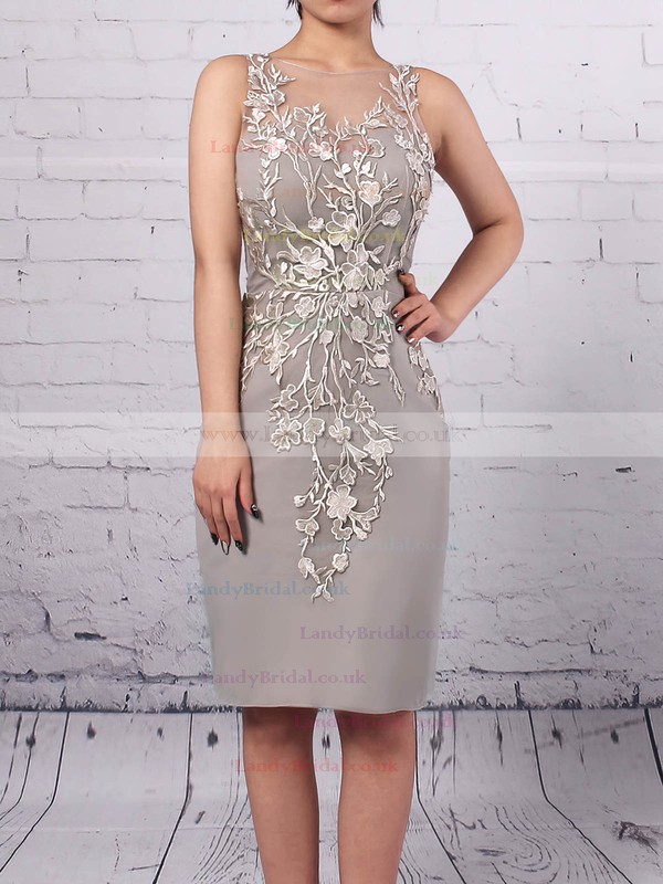 Chiffon Tulle Scoop Neck Sheath/Column Knee-length Appliques Lace Mother of the Bride Dress #LDB01021680