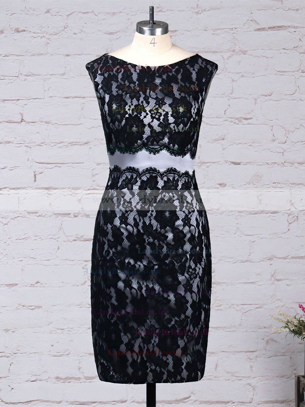 Lace Scoop Neck Sheath/Column Knee-length Beading Mother of the Bride Dress #LDB01021681