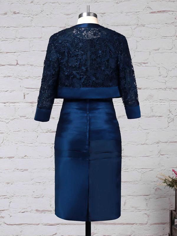 Lace Satin Scoop Neck Sheath/Column Knee-length Ruffles Mother of the Bride Dress #LDB01021690