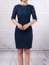 Lace Chiffon Scoop Neck Sheath/Column Knee-length Ruffles Mother of the Bride Dress #LDB01021686