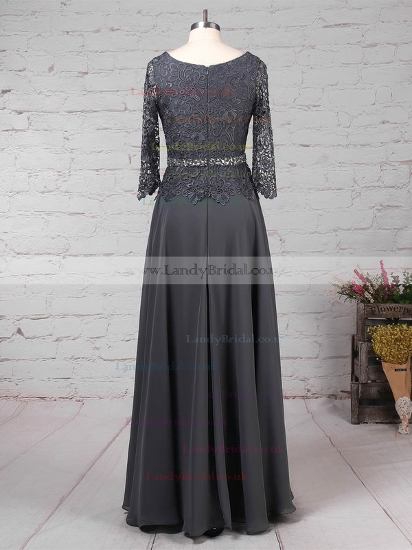 A-line Scoop Neck Lace Chiffon Floor-length Beading Mother of the Bride Dresses #LDB01021711