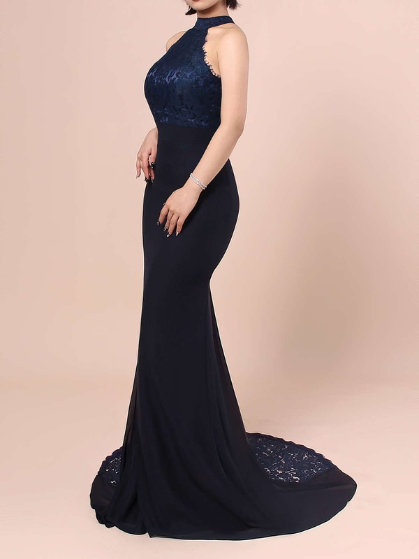 Lace Chiffon High Neck Trumpet/Mermaid Sweep Train Ruffles Bridesmaid Dresses #LDB01013462
