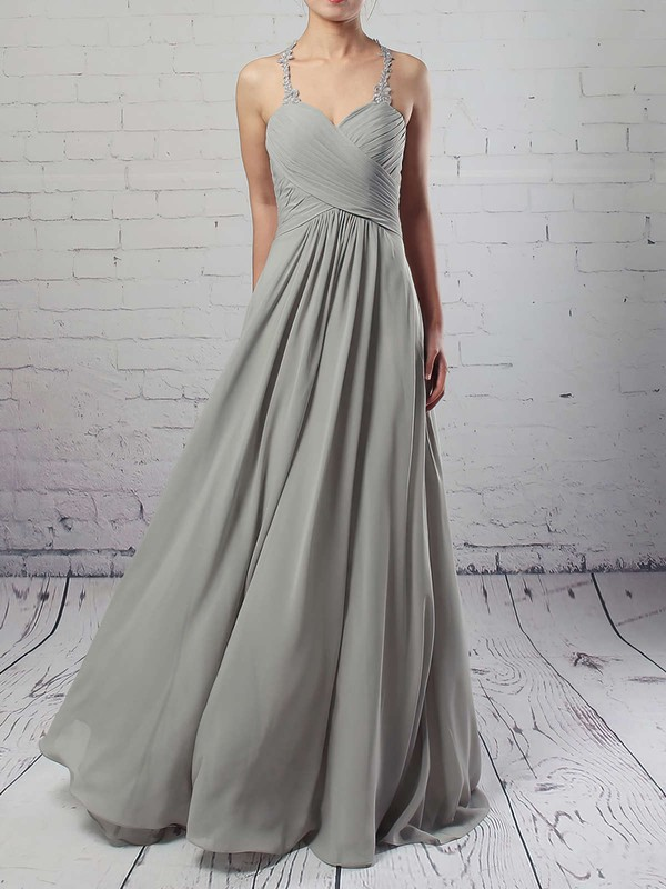 Chiffon Tulle V-neck Empire Floor-length Ruffles Bridesmaid Dresses #LDB01013463