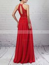 Lace Chiffon Scoop Neck A-line Floor-length Sashes / Ribbons Bridesmaid Dresses #LDB01013468