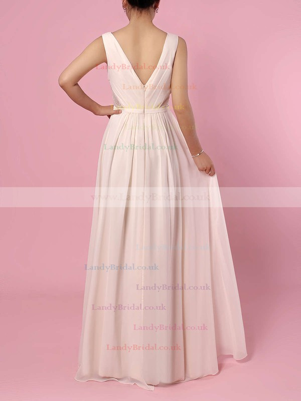 Chiffon V-neck A-line Floor-length Lace Bridesmaid Dresses #LDB01013470