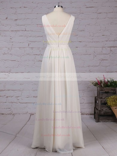 Chiffon V-neck A-line Floor-length Lace Bridesmaid Dresses #LDB01013470