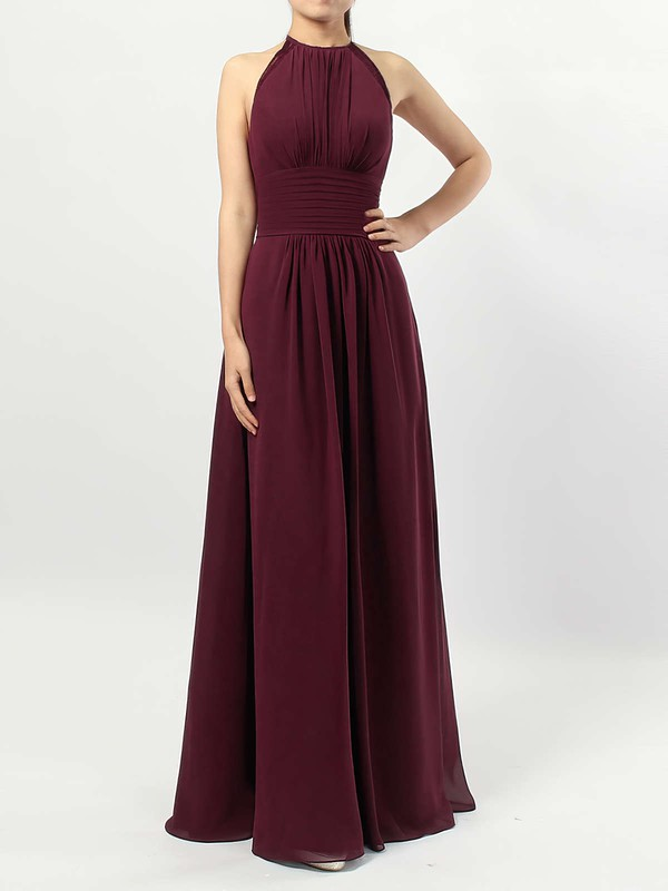 Chiffon Scoop Neck A-line Floor-length Ruffles Bridesmaid Dresses #LDB01013474