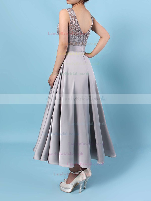 Lace Satin Chiffon Scoop Neck A-line Asymmetrical Sashes / Ribbons Bridesmaid Dresses #LDB01013476