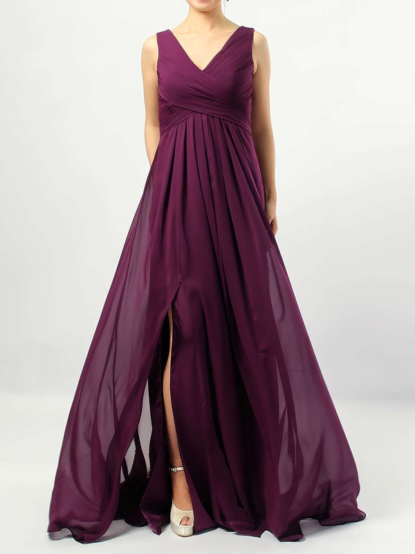 Chiffon V-neck Empire Floor-length Ruffles Bridesmaid Dresses #LDB01013477