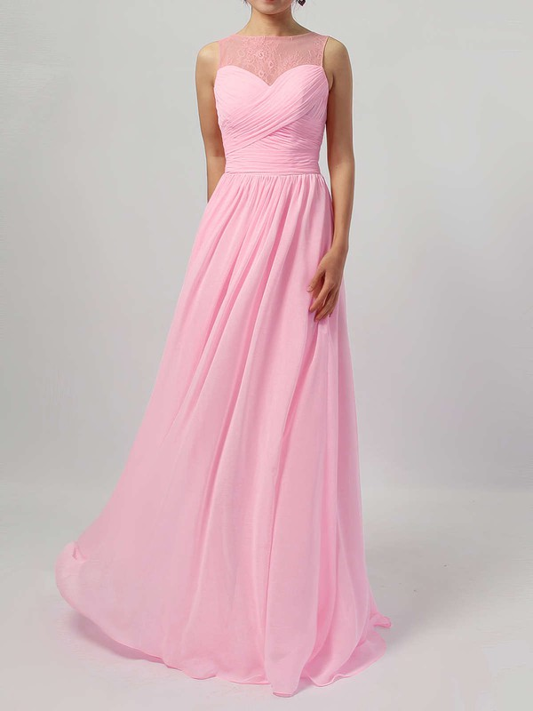 Lace Chiffon Scoop Neck A-line Floor-length Ruffles Bridesmaid Dresses #LDB01013478