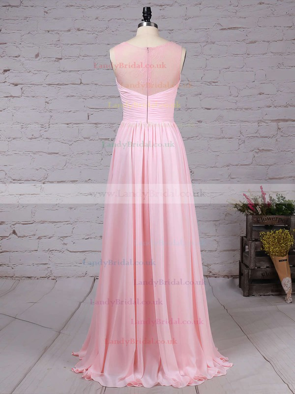 Lace Chiffon Scoop Neck A-line Floor-length Ruffles Bridesmaid Dresses #LDB01013478