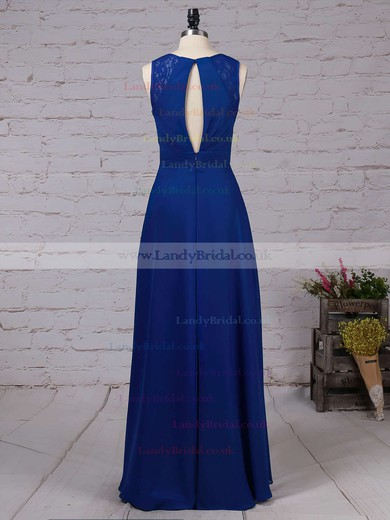 Chiffon V-neck A-line Floor-length Lace Bridesmaid Dresses #LDB01013483