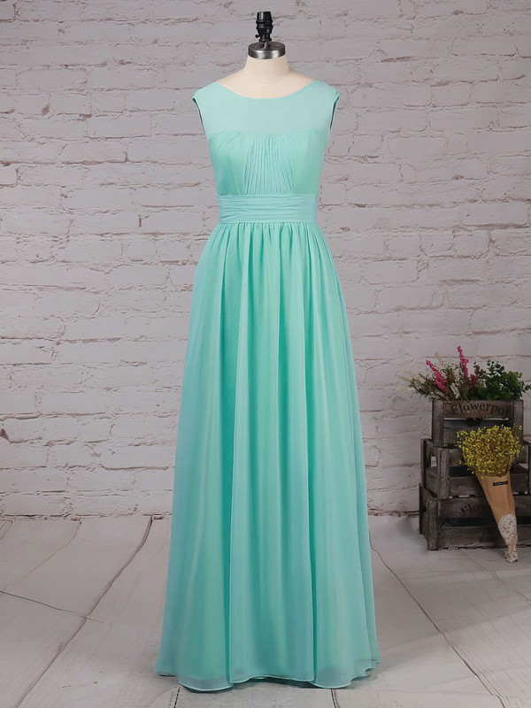 Chiffon Scoop Neck A-line Floor-length Ruffles Bridesmaid Dresses #LDB01013486