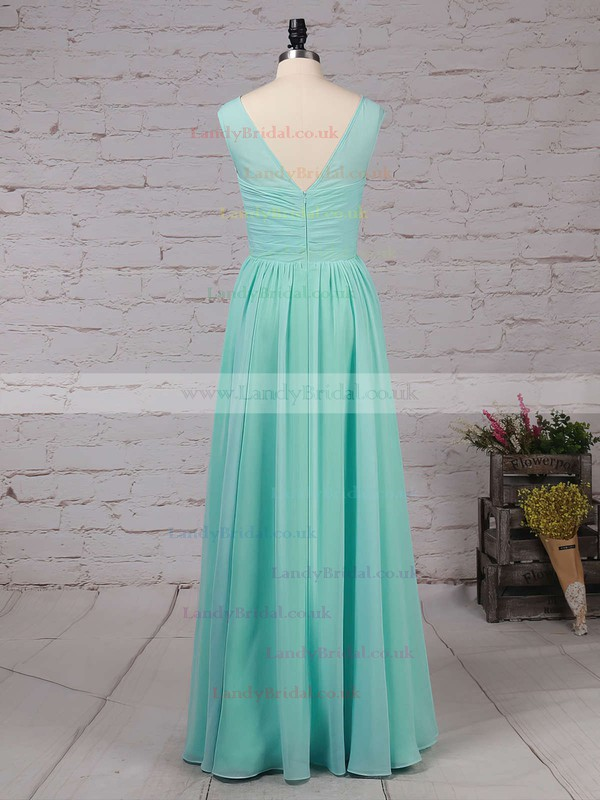 Chiffon Scoop Neck A-line Floor-length Ruffles Bridesmaid Dresses #LDB01013486