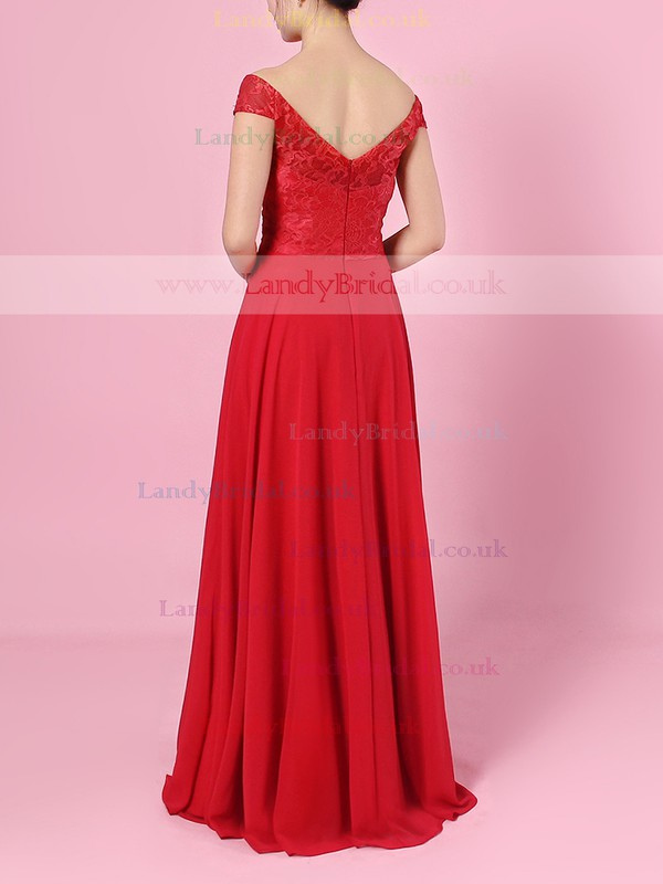 Lace Chiffon Off-the-shoulder Empire Floor-length Ruffles Bridesmaid Dresses #LDB01013488