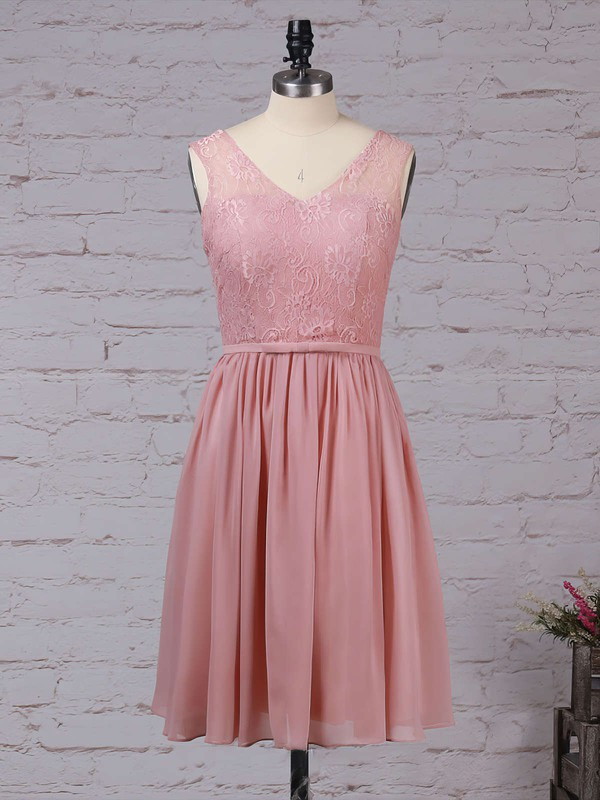 Lace Chiffon V-neck A-line Knee-length Sashes / Ribbons Bridesmaid Dresses #LDB01013497