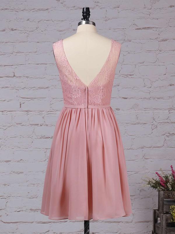 Lace Chiffon V-neck A-line Knee-length Sashes / Ribbons Bridesmaid Dresses #LDB01013497