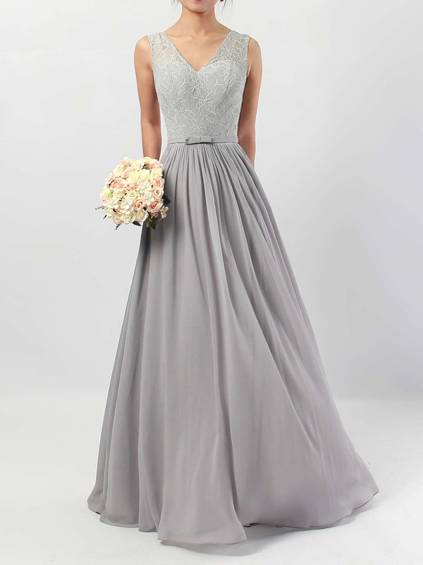 Lace Chiffon V-neck A-line Floor-length Sashes / Ribbons Bridesmaid Dresses #LDB01013498