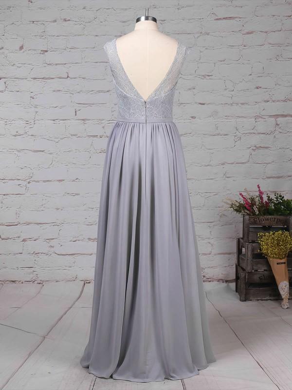 Lace Chiffon V-neck A-line Floor-length Sashes / Ribbons Bridesmaid Dresses #LDB01013498