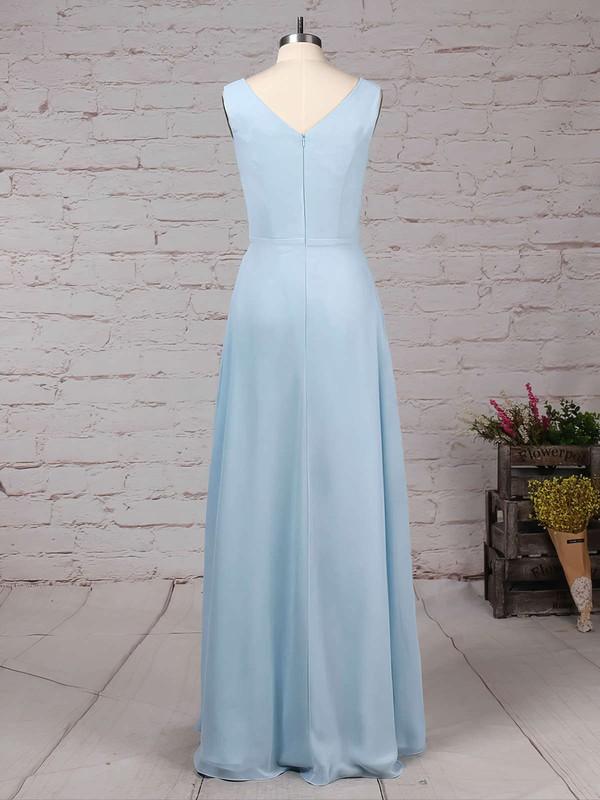 Chiffon V-neck A-line Floor-length Ruffles Bridesmaid Dresses #LDB01013499