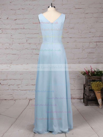Chiffon V-neck A-line Floor-length Ruffles Bridesmaid Dresses #LDB01013499