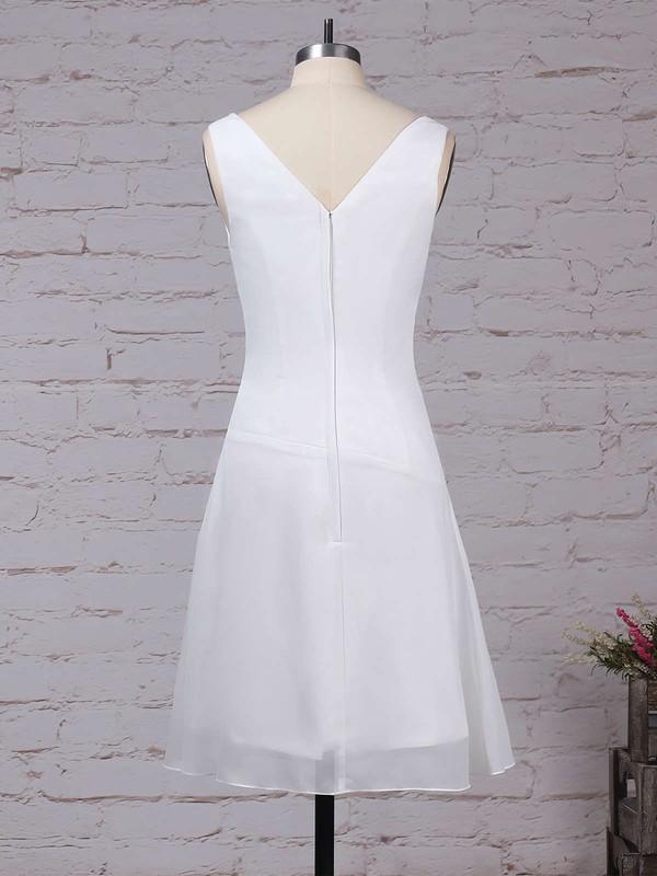 Chiffon V-neck A-line Knee-length Ruffles Bridesmaid Dresses #LDB01013500