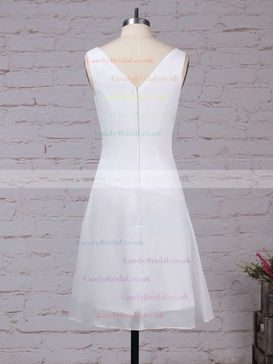 Chiffon V-neck A-line Knee-length Ruffles Bridesmaid Dresses #LDB01013500